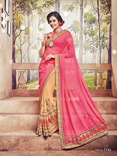 EthnicJunction Women's Party Wear Half Sarees For Wedding With Blouse Free Size Pink