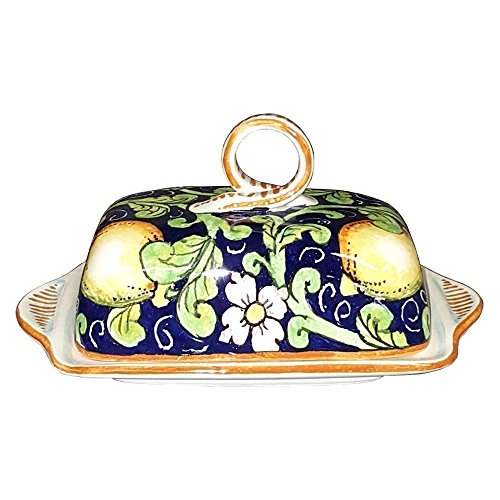 CERAMICHE D'ARTE PARRINI- Italian Ceramic Butter Dish Hand Painted Decorated Lemons Made in ITALY Tuscan Art Pottery