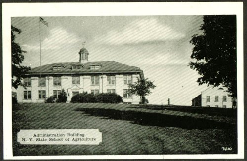 Administration Building State School of Agriculture Canton NY postcard 1940s from The Jumping Frog