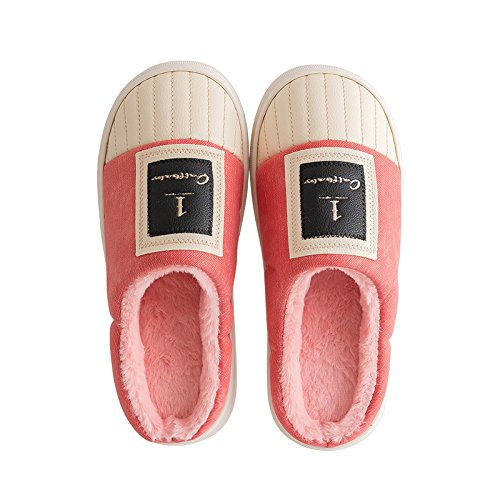 CWAIXXZZ pantofole morbide Parte superiore in pelle inverno pantofole di cotone impermeabile femmina incantevole thick student home soggiorno lussuoso usura esterna pelle pu uomini ,35-36 Codice (34-3