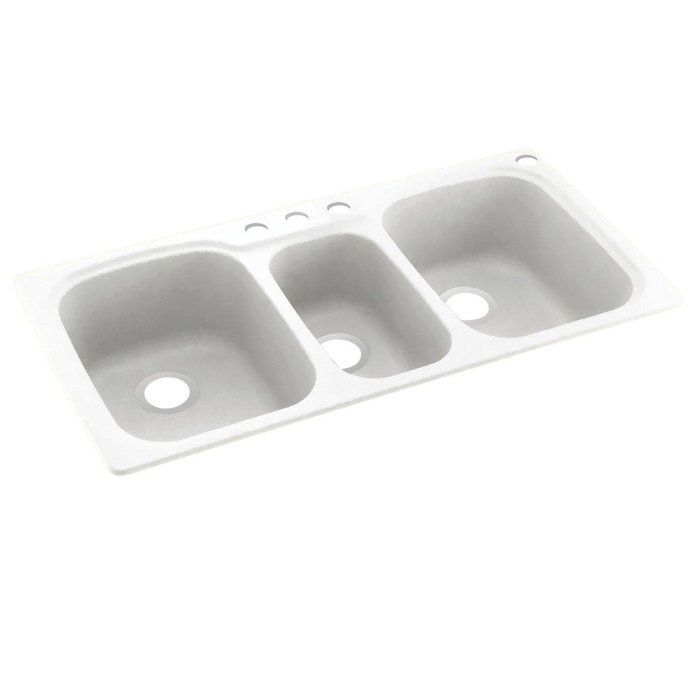 Swanstone KS04422TB.010-4 4-Hole Solid Surface Kitchen Sink, 44'' x 22'', White