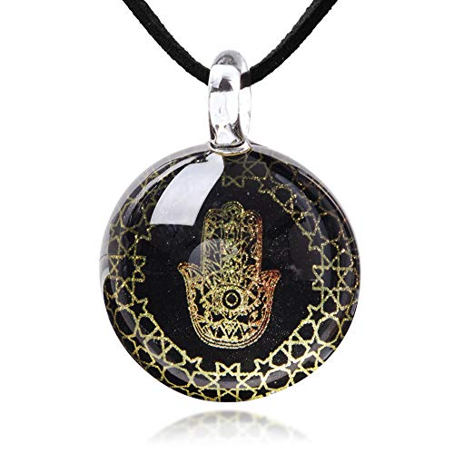 (Chuvora Hand Blown Glass Black Golden Hamsa Hand of Fatima Protection Amulet Round Pendant Necklace 17-19'')