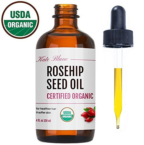 Rosehip Seed Oil by Kate Blanc. USDA Certified Organic, 100% Pure, Cold Pressed, Unrefined. Reduce Acne Scars. Essential Oil for Face, Nails, Hair, Skin. Therapeutic AAA+ Grade (4 oz) (Best Rosehip Oil For Face)
