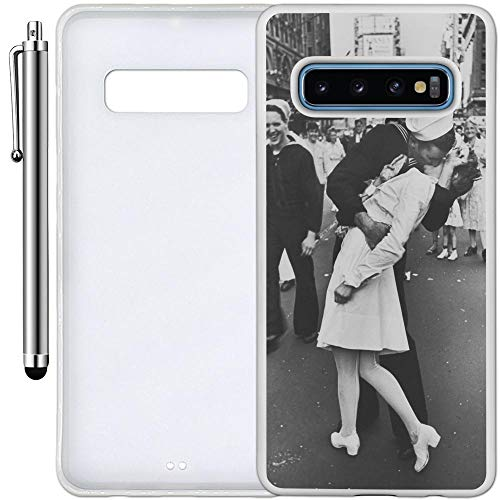 Custom Case Compatible with Galaxy S10 Plus (6.4 inch) (Sailor Nurse Kiss Lovers) Edge-to-Edge Rubber White Cover Ultra Slim | Lightweight | Includes Stylus Pen by Innosub