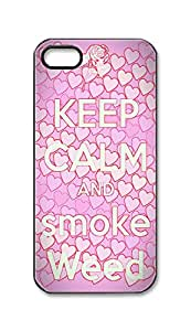 BlackKey keep calm and smoke weed Snap-on Hard Back Case Cover Shell for iPhone 5 5G 5s -604