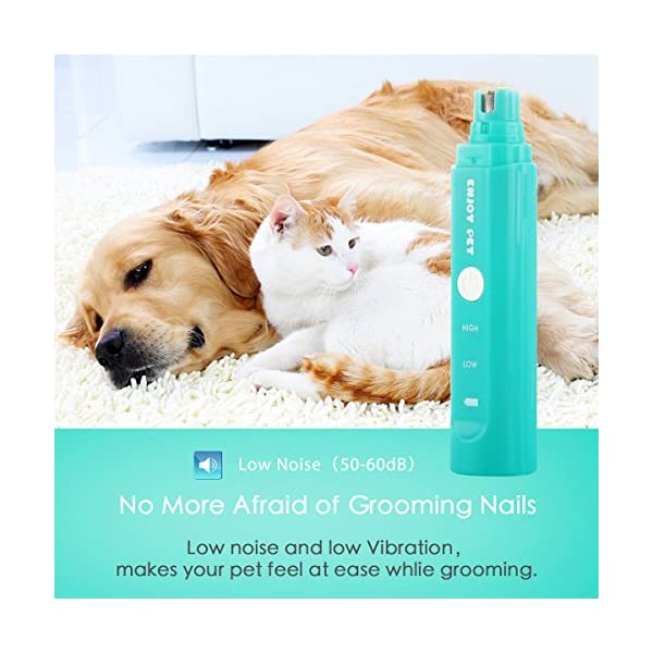 2 Speed Pet Nail Grinder Electric Nail Filer for Animals USB Rechargeable Paw Trimmer Clipper Pet Claw Grooming Kit for Dogs, Cats, Small Animals 3