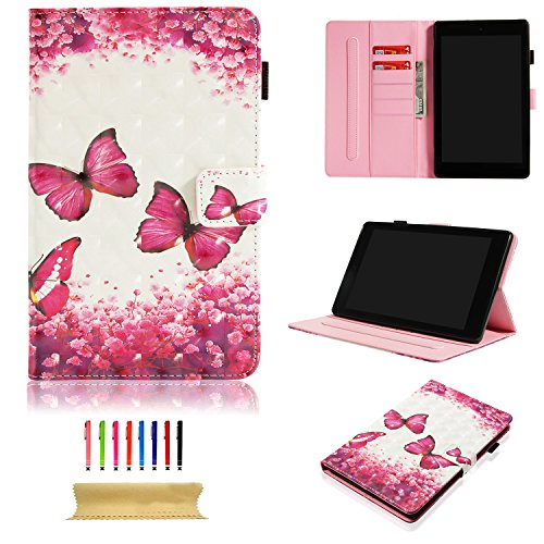 Uliking Folio Stand Case Cover Auto Wake/Sleep Amazon Kindle Fire HD 8 [7th Generation 2017/6th Gen 2016], Slim Smart PU Leather Wallet Pencil Holder Card Pocket, Red Butterfly Flower -