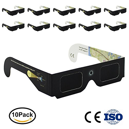 Price comparison product image Eclipse Glasses CE and ISO Certified 10 Pack by OneAccess - Solar Eclipse Glasses For Kids 2017 - Safe Solar Viewing - Viewer and Filter - Solar Eclipse Schematic.August 21.2017