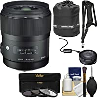 Sigma 35mm f/1.4 Art DG HSM Lens with USB Dock + 3 Filters + Sling Strap + Pouch + Kit for Canon EOS Digital SLR Cameras