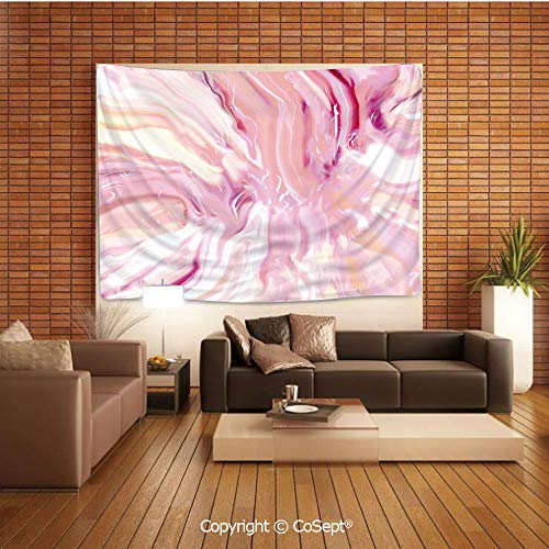PUTIEN Polyester Fabric Tapestry,Watercolor Brushstroke Style Hazy Mixed Colors in Murky Artistic Display Decorative,Tapestry Art Print Tapestry for RoomMagenta Coral Cream