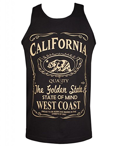 California Republic Mens Cali Tank Top Shirt (2XL, Gold Golden State of Mind)
