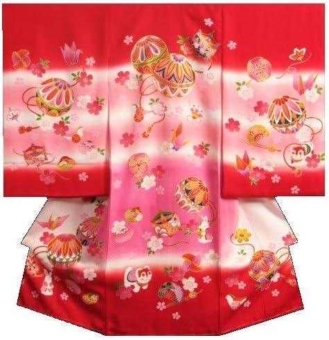 お宮参り 着物 女の子 正絹初着 女の子産着 赤 ピンクぼかし まり 金駒刺繍 金彩 紋意匠生地 日本製