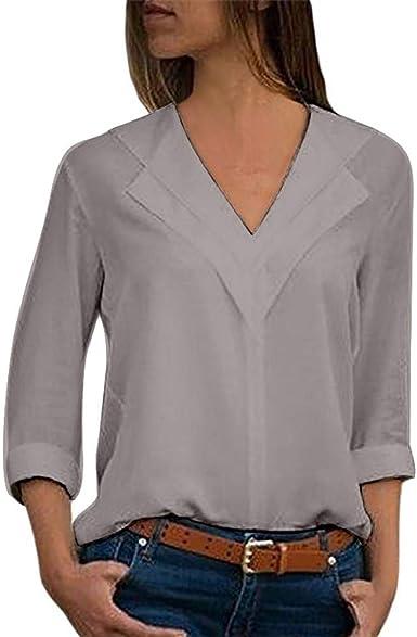 Camisas para Mujer, Moda Camiseta Sólida Mujer Gasa Blusas de Oficina de Manga Larga Lisa de Mujer Elegantes de Vestir Fiesta Camisetas Chica riou: Amazon.es: Ropa y accesorios