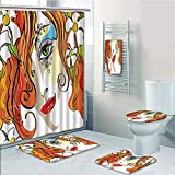 Bathroom 5 Piece Set shower curtain 3d print Multi Style,Abstract,Rainbow Curved Wave Smoke like Image with Pixel Style Detailed Work of Art Print Decorative,Multicolor,Bath Mat,Bathroom Carpet Rug,No