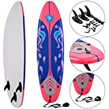 MD Group Beach Surf Surfboard Surfing Foamie 6' Durable Red EPE Deck & Slick HDPE Button