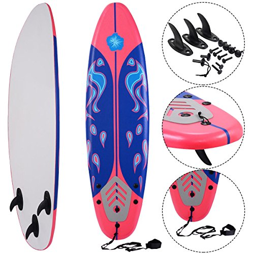 MD Group Beach Surf Surfboard Surfing Foamie 6' Durable Red EPE Deck & Slick HDPE Button by MD Group