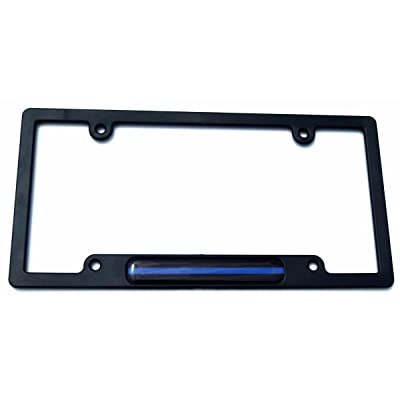 Police Thin Blue line Flag Black Plastic Car License Plate Frame Dome Decal: Automotive