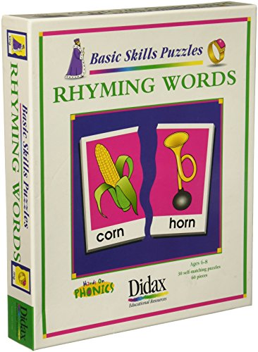 Didax Educational Resources Rhyming Words Matching Puzzle (60 Piece) (Match Words Rhyming)