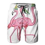 Leisue Christmas Hats Beach Flamingo Quick Dry Beach Shorts Male Boardshort Pockets