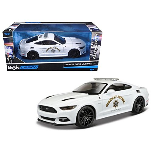 Maisto 32514 2015 Ford Mustang GT 5.0 Highway Patrol Police Car White 1/24 Diecast Model (Diecast Car Highway)