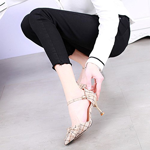 SSBY Sharp 7.5Cm High Heels Frühling Neuer Stil Wort Schnalle Gitter Gut - Sexy Fliege Cat - Schuh - Frau Beige