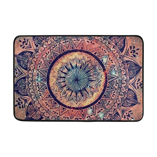 THENAHOME Doormat Super Absorbs Mud Non-Slip Indoor and Outdoor Door Mat with Boho Geometric Floral Print for Front Door Inside Floor Dirt Trapper Mats 15.7