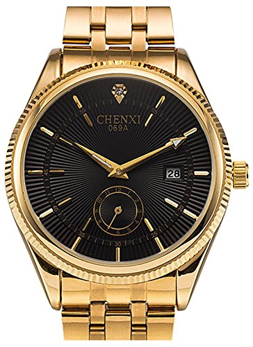 Fanmis Mens Luxury Analog Quartz Black Dial Gold Watch Business Stainless Steel Band Dress Wrist Watch Classic Calendar Date Window 3ATM Water Resistant