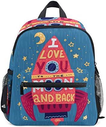 ラブムーンロケットブルースター幼児就学前のバックパック本袋ミニショルダーバッグリュックサック通学用1-6年旅行男の子女の子