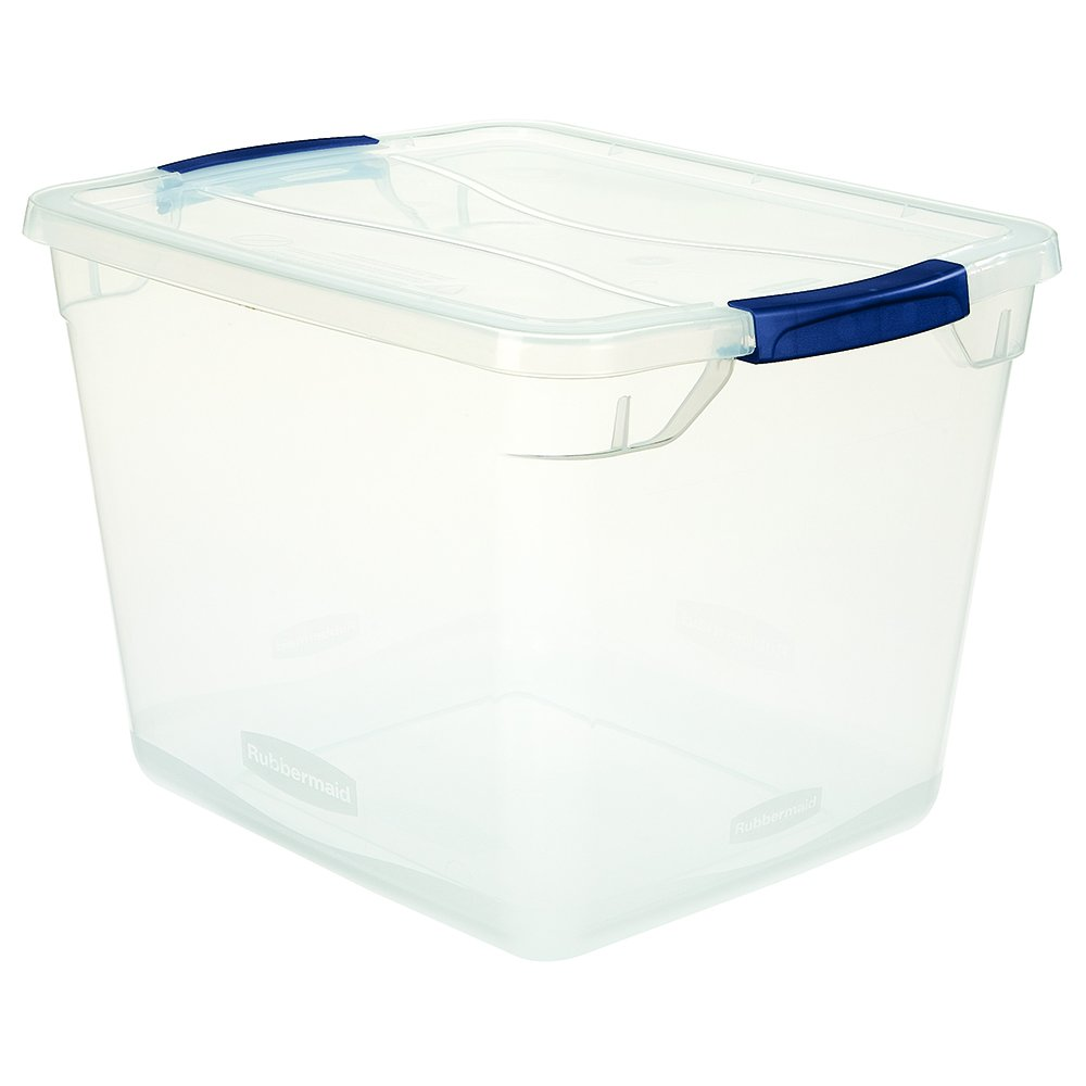 Rubbermaid Clever Store Latching Storage Tote Container, Clear, 30-Qt (FG3Q2500CLMCB)