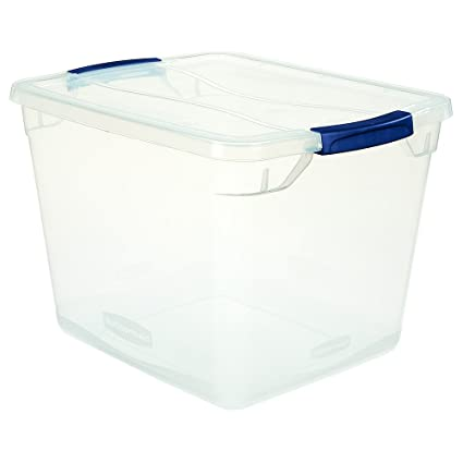 Captivating Rubbermaid Clever Store Latching Storage Tote Container, Clear, 30 Qt  (FG3Q2500CLMCB)