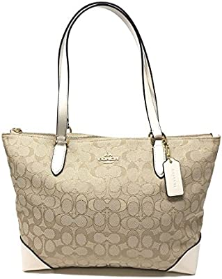 Amazon.com  Coach Outline Signature Jacquard Zip Tote F29958 - Light  Khaki Chalk  All About Faith a4c3521fcc466