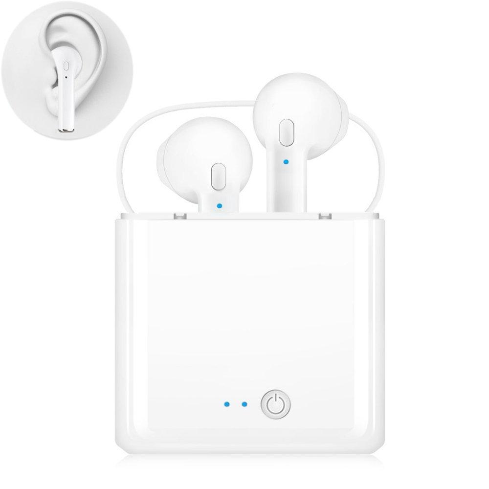 ワイヤレスイヤホン Bluetoothイヤホン 防汗 スポーツイヤホン マイク機能付きヘッドホン iphon 7/8/X iOSシステム対応 Androidスマートフォン対応 ホワイト   B07GSDZWX4