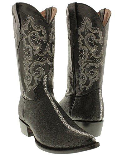 Team West - Men's Black Stingray Print Leather Cowboy Boots 12 D(M) US