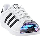 adidas Womens Superstar Metal Toe Casual Sneakers, White, 5.5