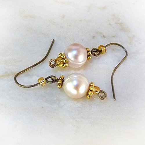 Genuine Pearl Earrings - Gold, Bronze, Pink - Handmade Petite, Dangle Drop Earrings, 8mm Cultured Pearls - Pearl Jewelry - Valentines Day, Mothers Day, Birthday Gift - Pre Valentines Day LOW PRICE!