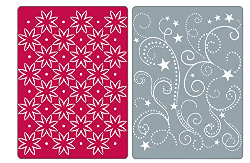 (Sizzix Textured Impressions Embossing Folders 2PK - Flowers, Stars & Swirls Set by Rachael Bright )