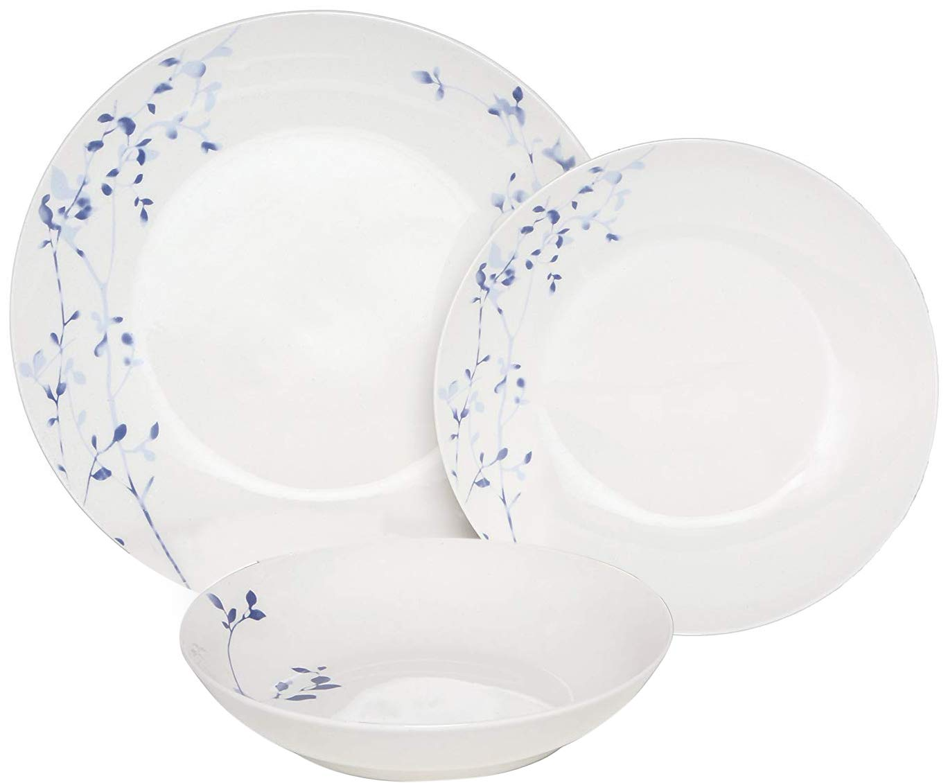 Melange Coupe 36 Piece Porcelain Dinner Set | Indigo Garden Collection | Service for 12 | Microwave, Dishwasher & Oven Safe | Dinner Plate, Salad Plate, Soup Bowl & Mug (12 Each)