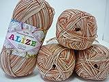 100% Mercerized Cotton Yarn Alize Miss Melange Thread Crochet Knitting 4skn 200g
