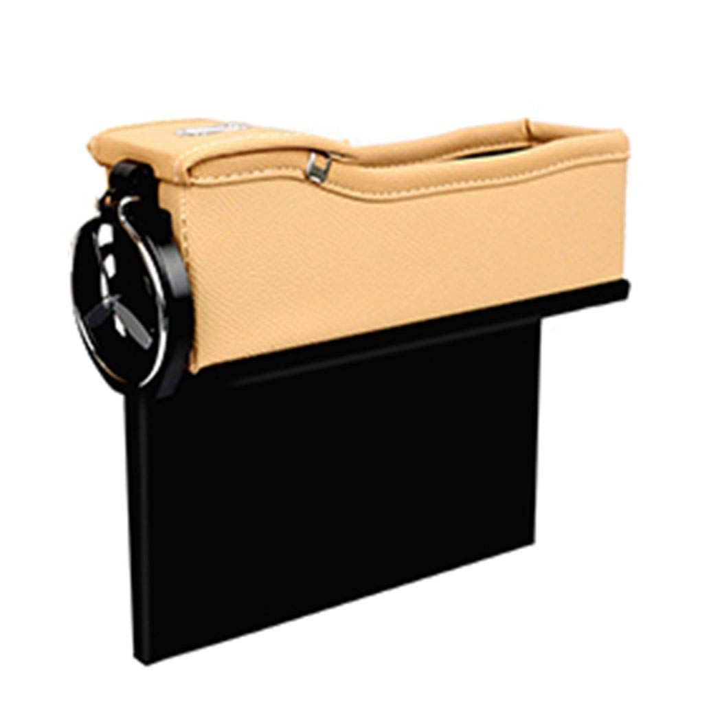Black Red Car Seat Crevice Gap Pocket Faux Leather Storage Box Cup Drink Holder Organizer