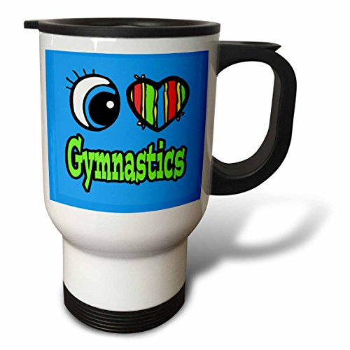 Gymnastics Mug (3dRose tm_106144_1 Bright Eye Heart I Love Gymnastics, Travel Mug, 14-Ounce, Stainless Steel)