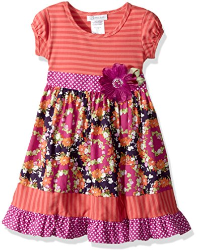 Bonnie Jean Toddler Girls' Knit to Cotton Poplin Print Dress, Coral Floral, ()