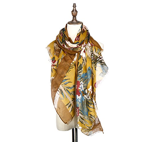 Lightweight Fashion Flower Scarf Shawl ,RiscaWin Flowers Print Shawl Wrap For Women - Valentiens Day Ideas