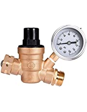 MICTUNING RV Water Pressure Regulator C46500 Lead-Free Brass Adjustable with Stainless Steel Gauge and Two-Tier Filter, 3/4 NH Threading