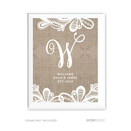 Andaz Press Burlap Lace Print Wedding Collection, Personalized Party Signs, Monogram Bride & Groom Names, Est. Year, 8.5x11-inch, 1-Pack, Custom Name -