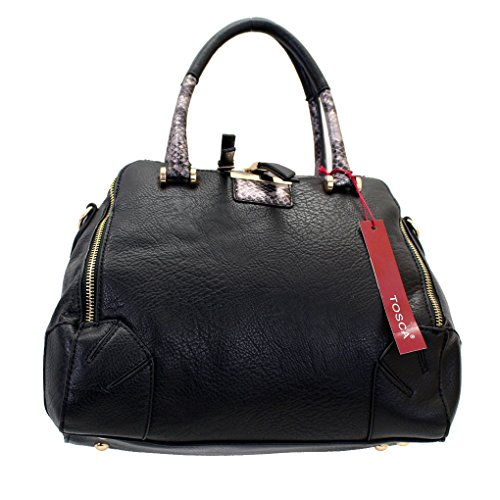 Black Handbag Purse Faux Leather Bag Silver Metallic Snake Skin & Gold Detail