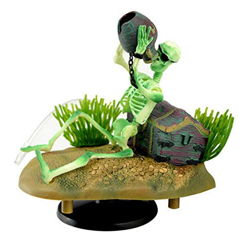 (Dimart Aquarium Fish Tank Tippler Sailor Skeleton Design Air-operated Landscape Decoration, Light Green + Gray)