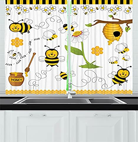Collage Decor Kitchen Curtains by Ambesonne, Flying Bees Daisy Honey Chamomile Flowers Pollen Spring Themed Animal Print, Window Drapes 2 Panels Set for Kitchen Cafe, 55 W X 39 L Inches, Yellow White