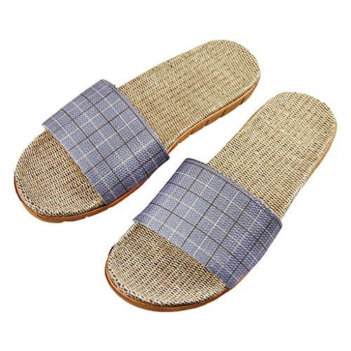 BAO CORE Unisex Linen Slip-on Sandal Anti-Slip Casual Home Summer Slippers Size UK 6-7 UK 9-10 for Women Men, Grey/Royal Blue Grey
