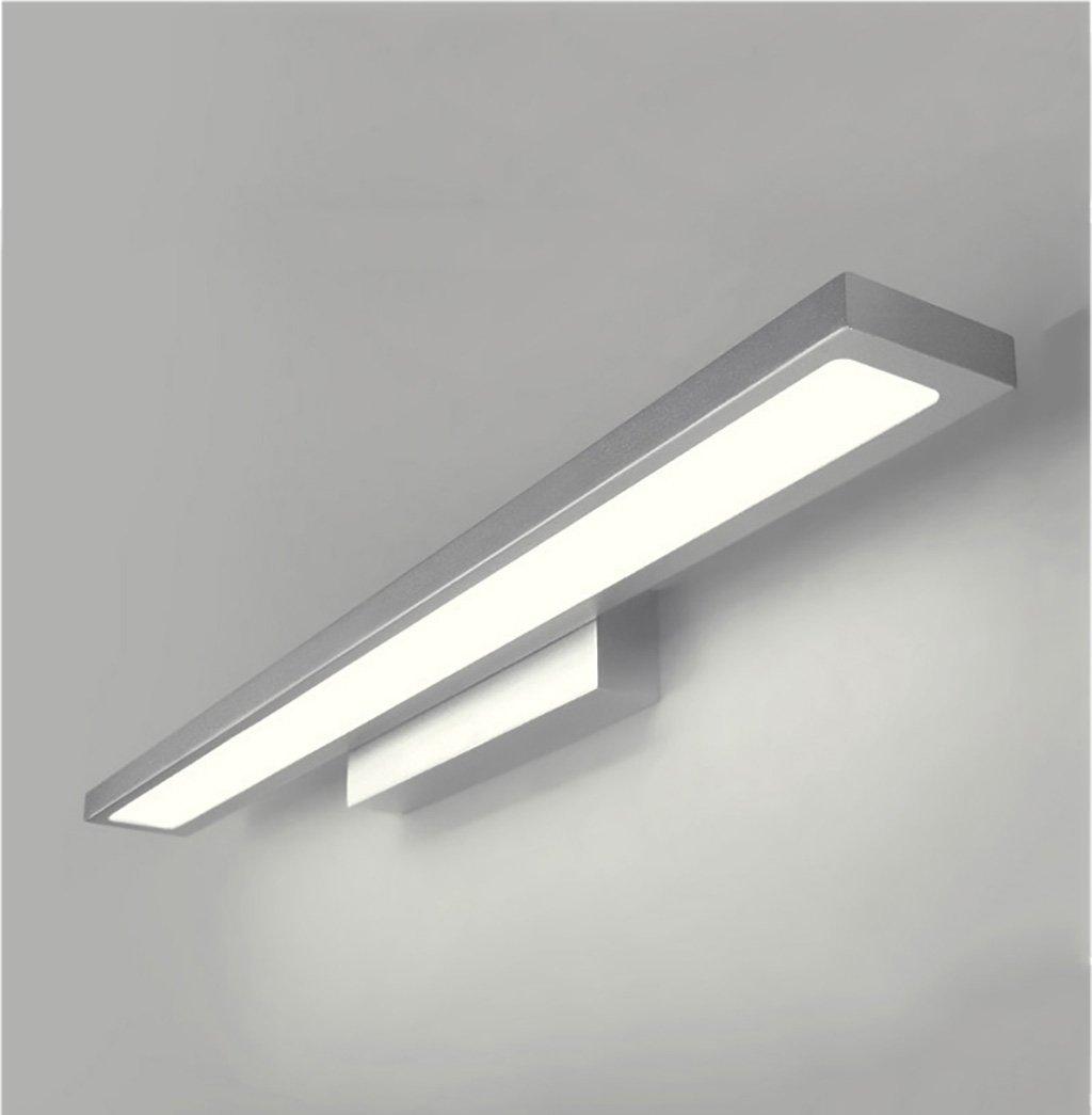 &Spiegelleuchte Spiegel-Badezimmer-Wand-Lampe, LED-Spiegel-Licht, Badezimmer-Spiegel Einfache moderne Toilette Badezimmer Wasserdichter Spiegel - Schwarzes (Farbe   Silber-weißes Licht-60CM 18W)