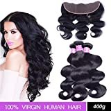 Brazilian Body Wave Hair 3 Bundles with Lace Frontal Closure (13×4), AliBarbara 8A 100% Unprocessed Virgin Human Hair Extensions Natural Color (18 20 22 & Closure 16)